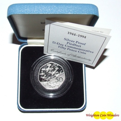 1994 Silver Proof PIEDFORT 50p - D-Day Commemorative
